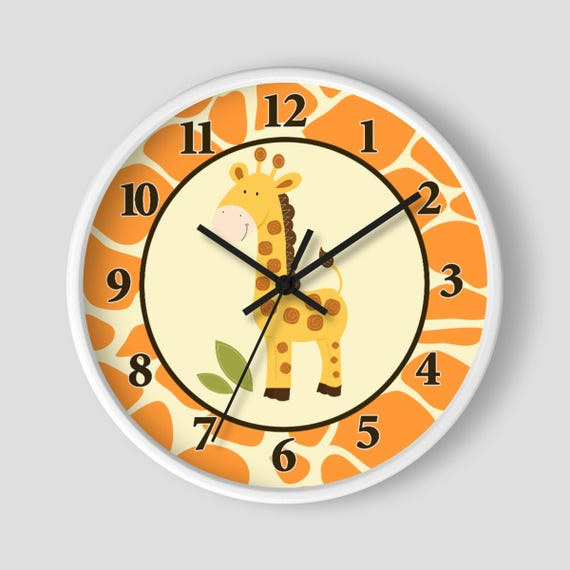 Giraffe Jungle Orange Yellow Neutral Giraffe Print Nursery Wall Clock Personalized Clocks By All Pets Cherished Catch My Party