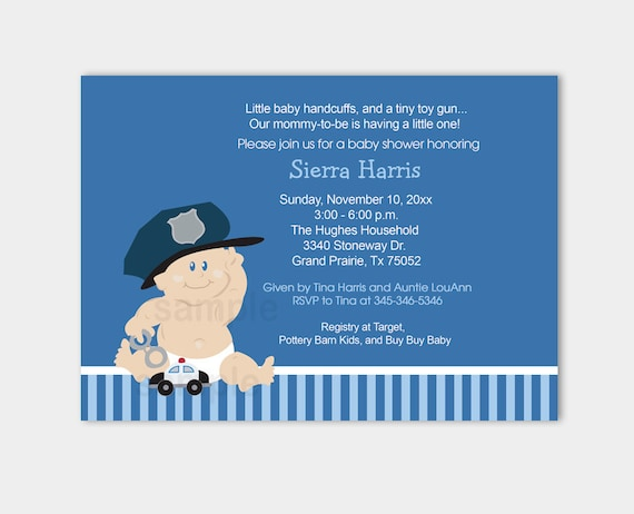 Baby cop boy police officer baby shower invitation instant filmwisefo