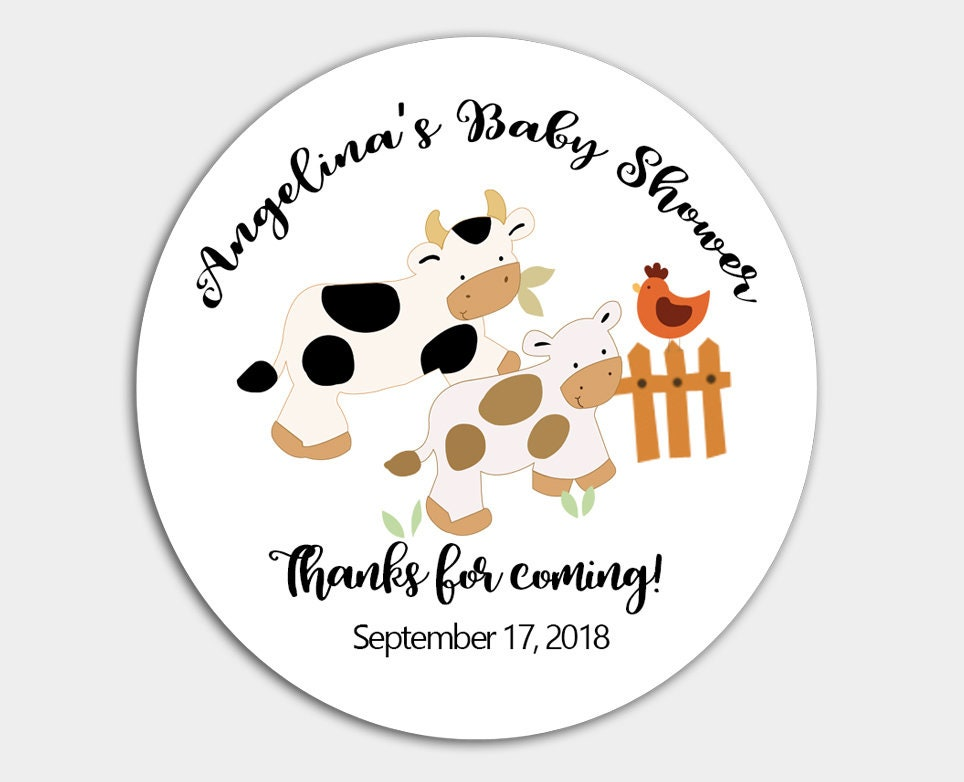 Moo Cow Farm Baby Shower Favor Stickers Barn Baby Shower Etsy