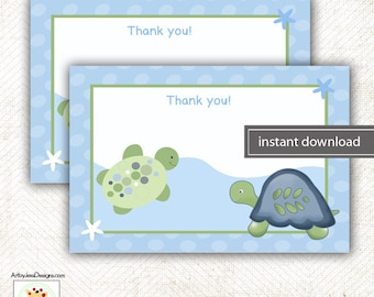 Turtle Reef Baby Shower Matching Flat Card Thank you Note, Size 4x6 INSTANT DOWNLOAD