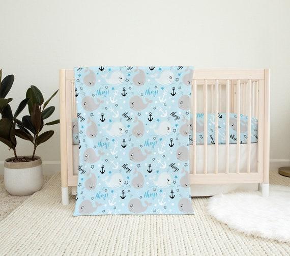 Girl Baby Blanket Crib Baby Blanket.. Satin Trim Minky Blanket.. Whale Baby Blanket.. Pink Minky Baby Blanket..