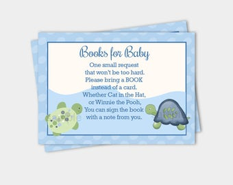 Turtle Reef Baby Shower Books for Baby Book Request Enclosure Cards INSTANT DOWNLOAD bs-108