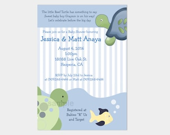 Turtle Reef Turtles and Tortoise Boy Baby Shower Invitatons | Digital Print your Own Customized Invites bs-108