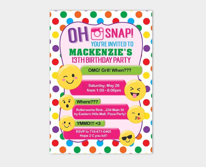 Emoji Birthday Invitation Tween Or Teen Invites