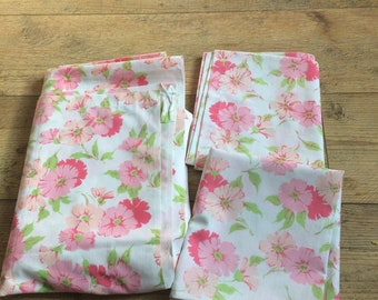 Vintage Penn Prest Pink And Green Floral Bed Sheet And Pillowcases,Vintage  Muslim Sheets ,Vintage Fabric,Twin Bed