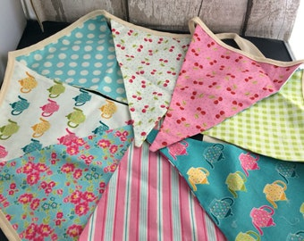 Handmade Double Sided Teapots and Stripes Bunting , shabby Chic Bunting , 8 flag bunting