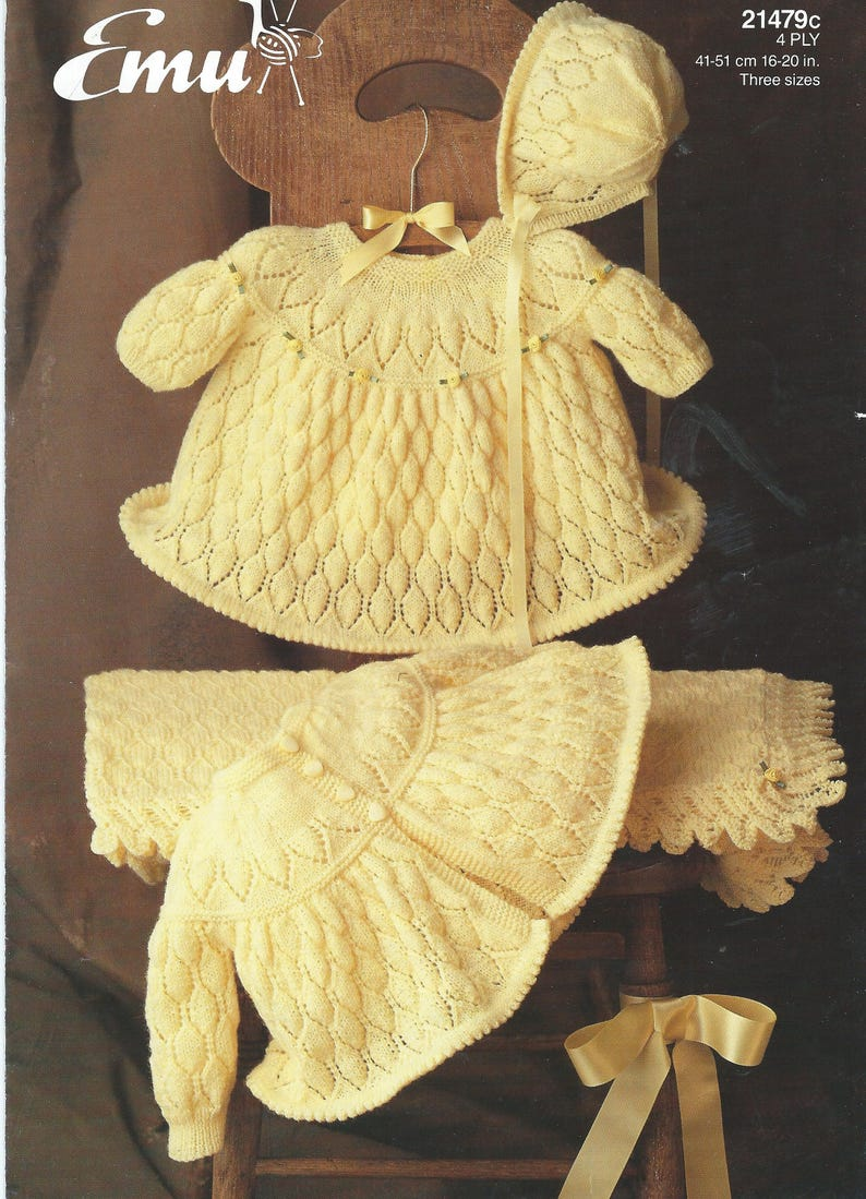 7fa60fc36 Vintage Baby Clothes Knitting Pattern Vintage Matinee