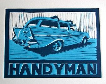 Original Linocut - 1957 Chevy Handyman