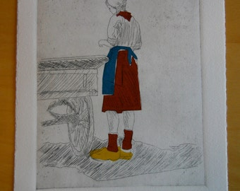 Alkmaar Cheese Girl - original etching with chine colle (6/8)