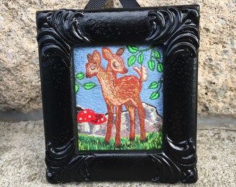 Two Headed Deer framed, hand embroidered original art