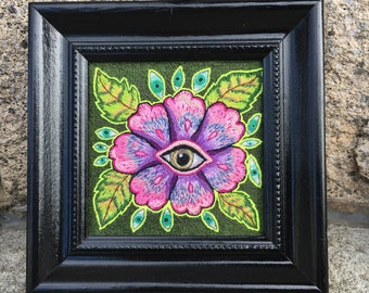 All Seeing Flora framed, hand embroidered original art
