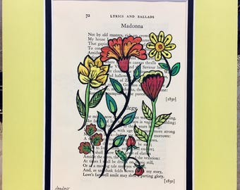 Madonna (page 72 of Pushkin's Lyrics & Ballads) wildflowers on antique book paper