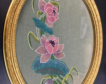 Traditional Chinese Embroidery inspired Water Lillies