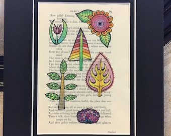 Here's Winter (page 69 of Pushkin's Lyrics & Ballads) flower painting on antique book paper