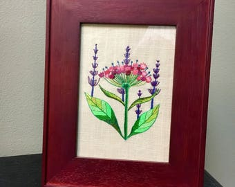 Pink Wildflower embroidery art framed