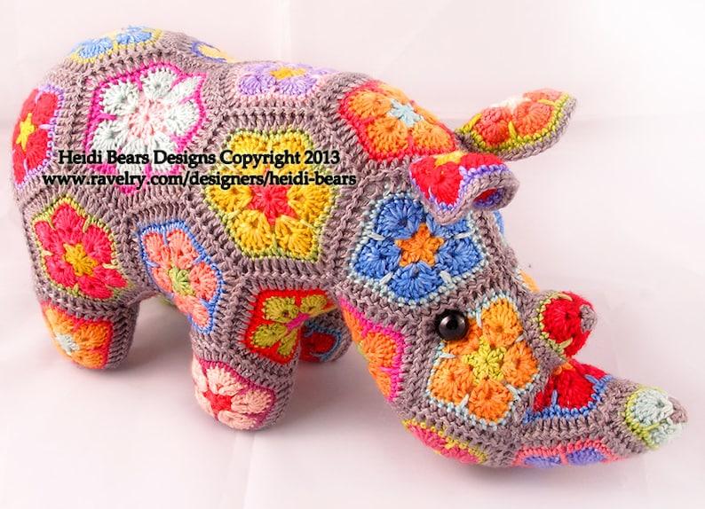 Thandi the African Flower Rhino Crochet Pattern image 0