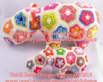 Happypotamus the Happy African Flower Crochet pattern