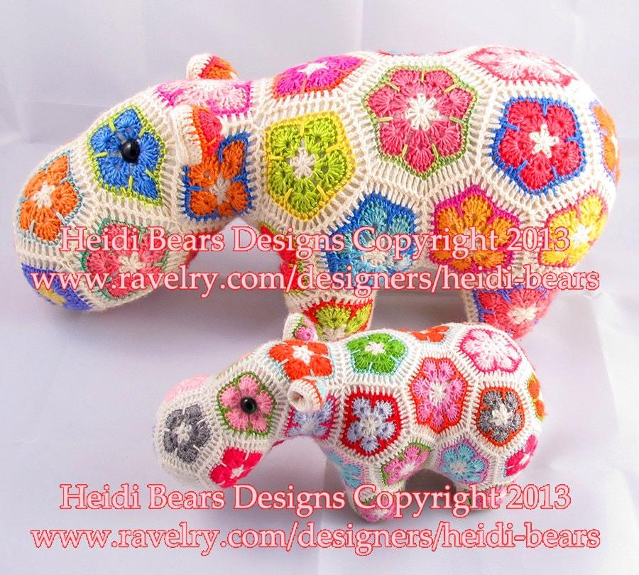 Happypotamus el patrón feliz de flor africana ganchillo | Etsy