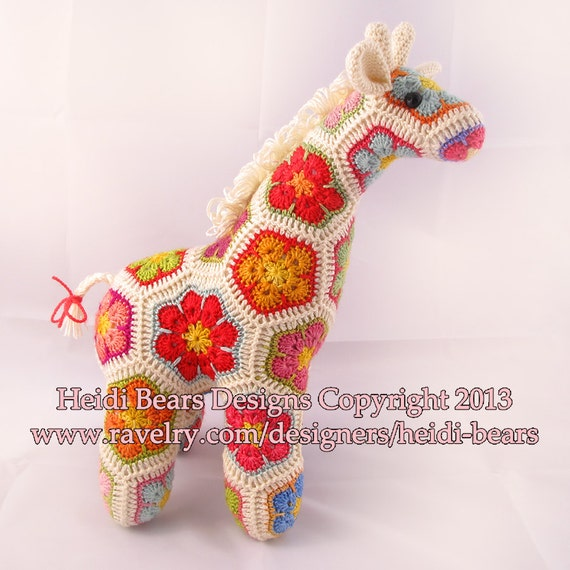 Jedi The Curious Giraffe African Flower Crochet Pattern Etsy