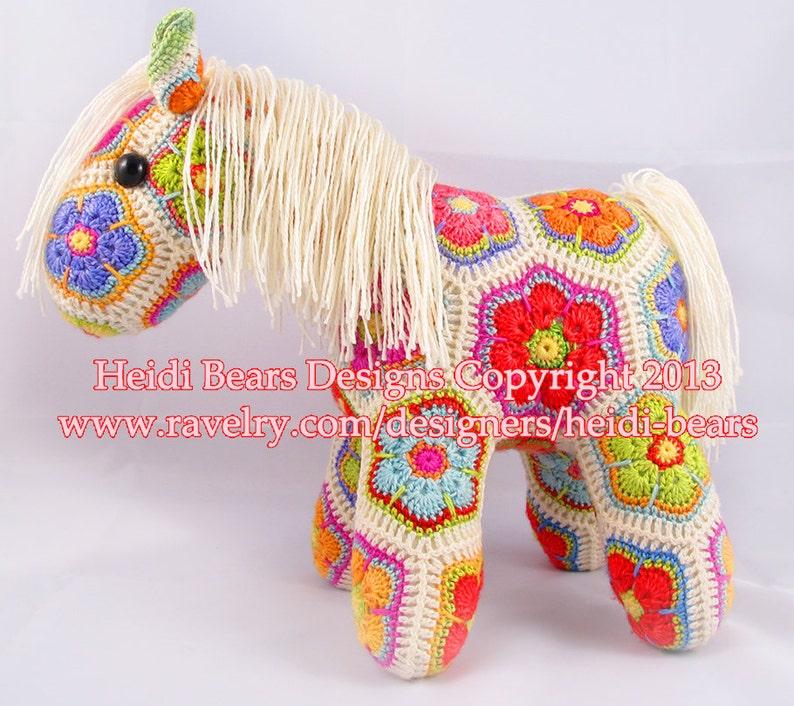Fatty Lumpkin the Brave African Flower Pony Crochet Pattern image 0
