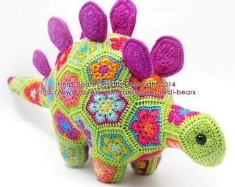 Puff the Magic Stegosaurus African Flower Crochet Pattern