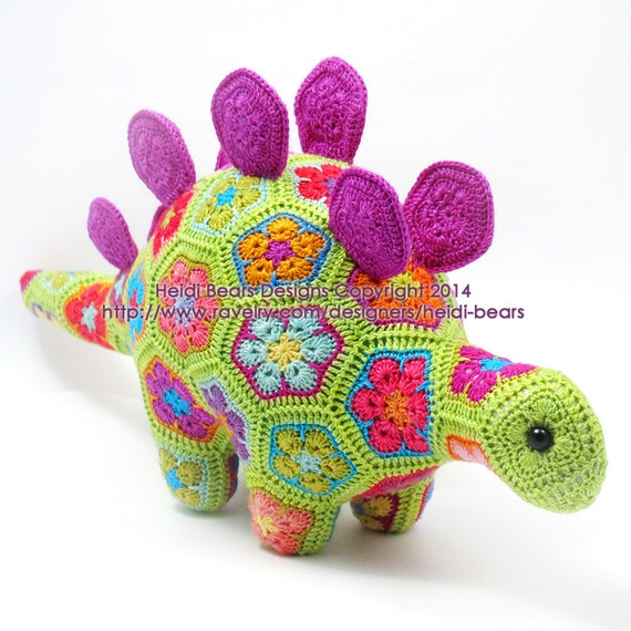 Puff The Magic Stegosaurus African Flower Crochet Pattern Etsy