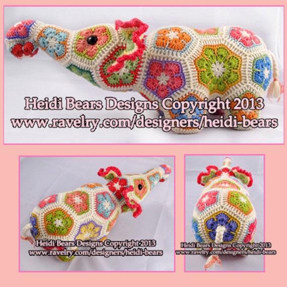 Nellie el elefante africano flor Crochet patrón | Etsy