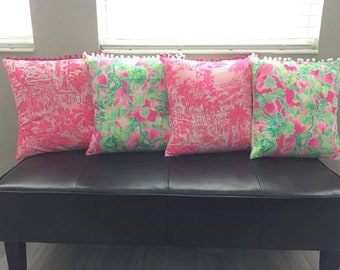 Lilly Pulitzer inspired pillows pillowcase 16x16 in various prints salt in the air, catch the wave, catty shack, rule breakers, mermaid cove