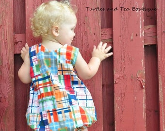 Madras Patchwork Plaid Boys Romper, sizes 2T and 3T