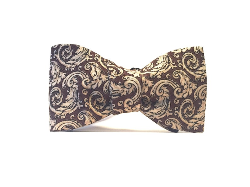 Elegant Brown and Cream Victorian Pattern bow tie image 0
