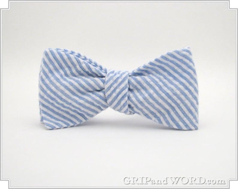 Blue and White Seersucker Bow Tie image 0