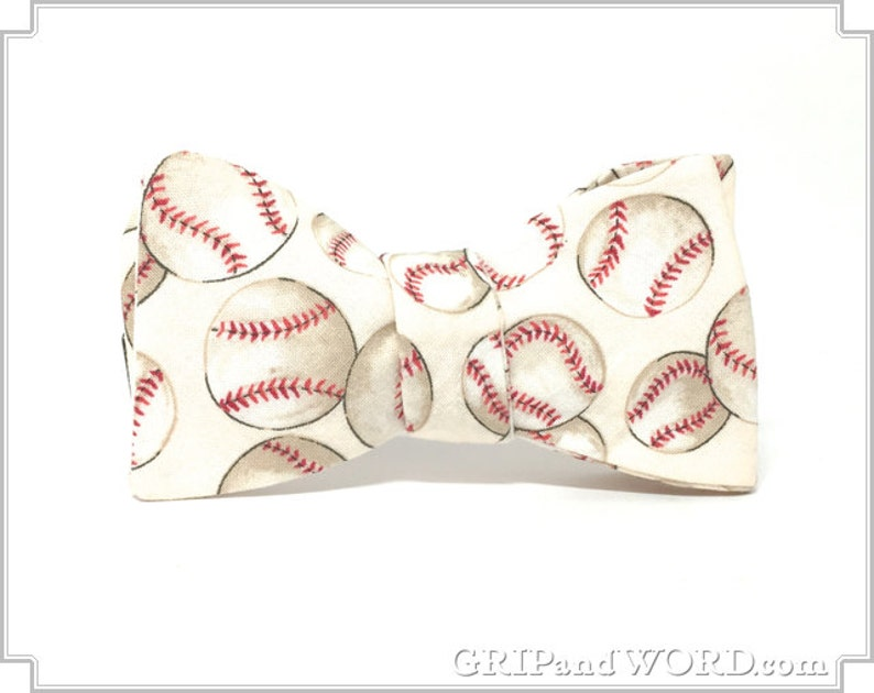 The Cooperstown  Natural Baseball bow Tie image 0
