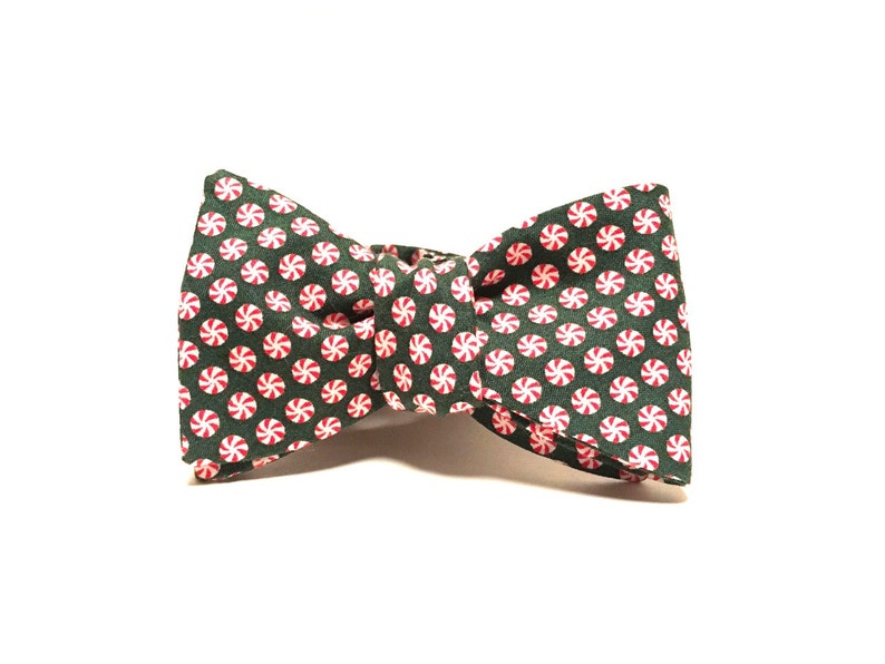 Green Peppermint Candy Freestyle Bow Tie image 0