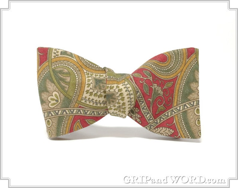Red Green and Gold Paisley Freestyle Bow Tie image 0