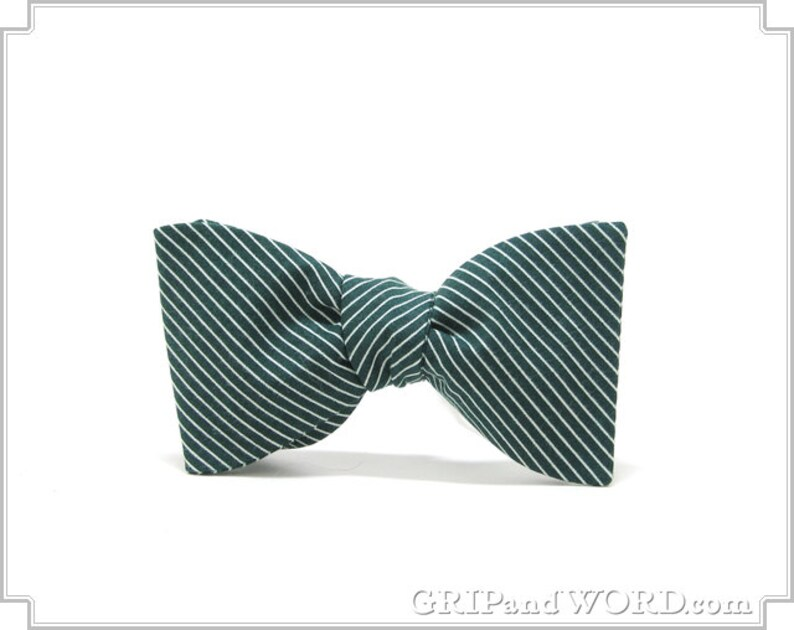 The Fairway  Green and White Pinstripe Freestyle Bow Tie image 0