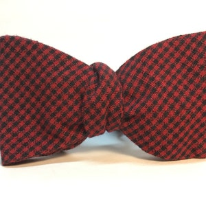 Tan Red Green and Blue Gingham Checked Freestyle Bow Tie