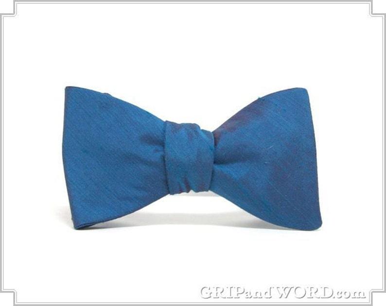 The Opaline  Iridescent Blue Dupioni 100% Silk Bow Tie image 0