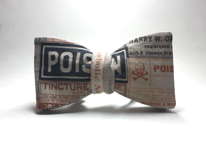 Vintage Poison Labels adjustable freestyle Bow Tie image 0