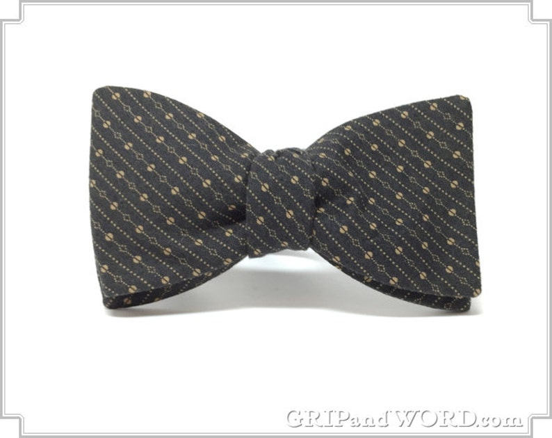 The Wetherby  Indigo and Tan Freestyle Bow Tie image 0