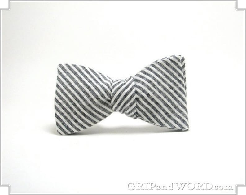 The Pimm  Grey and White Seersucker Bow Tie image 0