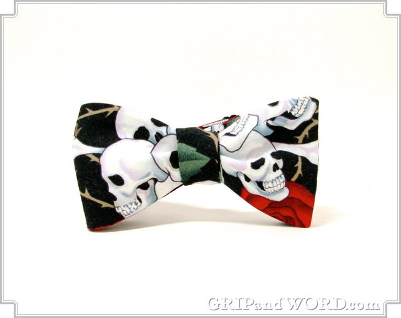 Skulls and Roses Black Bow tie image 0