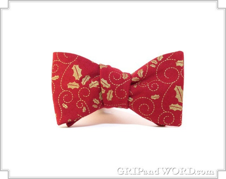 Red and Gold Holly Freestyle Christmas Bow Tie image 0