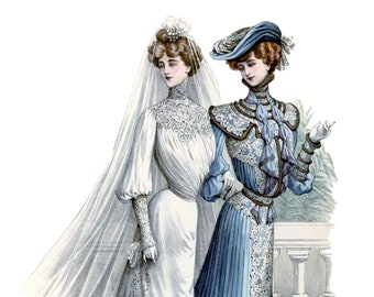De Gracieuse 1905 Bridal Fashion Plate Wedding Shower Engagement Blank Note Card BF-0010