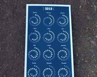 2018 Large Moon Calendar in Night Sky - Silkscreen Print