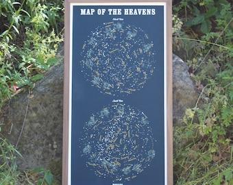 Map of the Heavens 3 COLOR Silkscreen Print