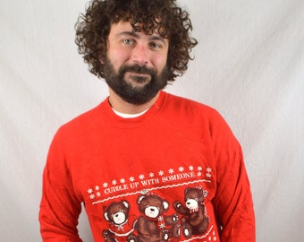 Vintage 80s Cute Christmas Puffy Teddy Bear XMAS Sweatshirt - Cuddle Up with Someone from Nebraska