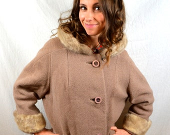 Vintage 1950s 60s Wool and Fur Trimmed Winter Holiday Coat Jacket