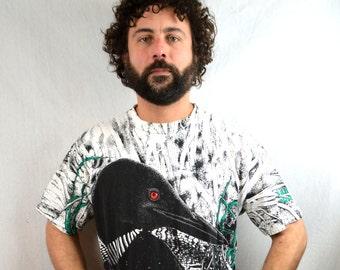Vintage 1980s 90s Mallard Duck All Over Print Tee Shirt Tshirt