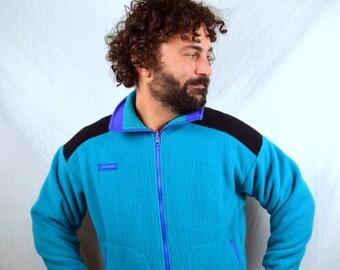 Vintage 80s Columbia Geometric teal Fleece Zip Up Jacket