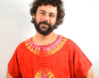 Vintage 80s 90s Red Rainbow Ethnic Tie Dye Batik Dashiki Caftan Tunic Top